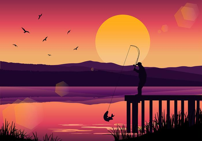 Pesca de Muskie Sunset Vector libre