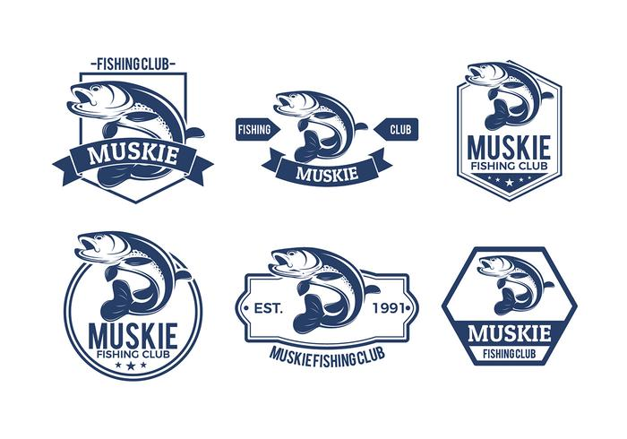 Muskie Fish Badges Free Vector