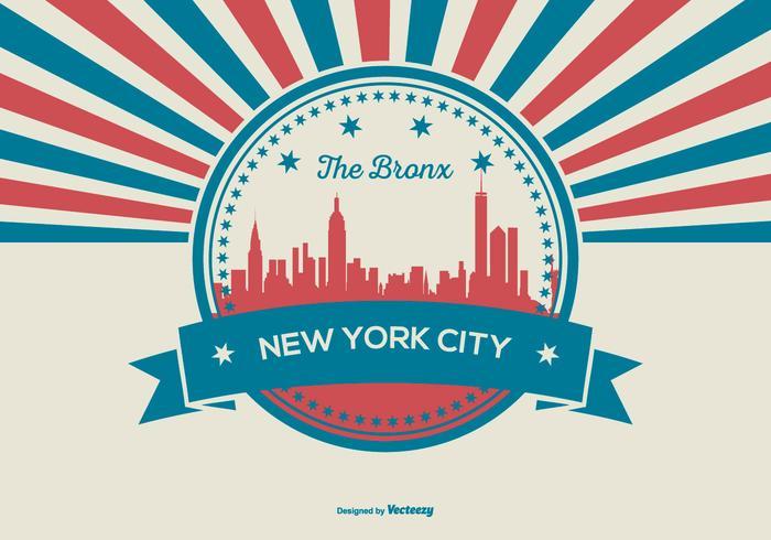 Retro stil Bronx, New York City Illustration