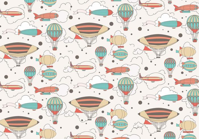 Dirigible Colorful Pattern Vector