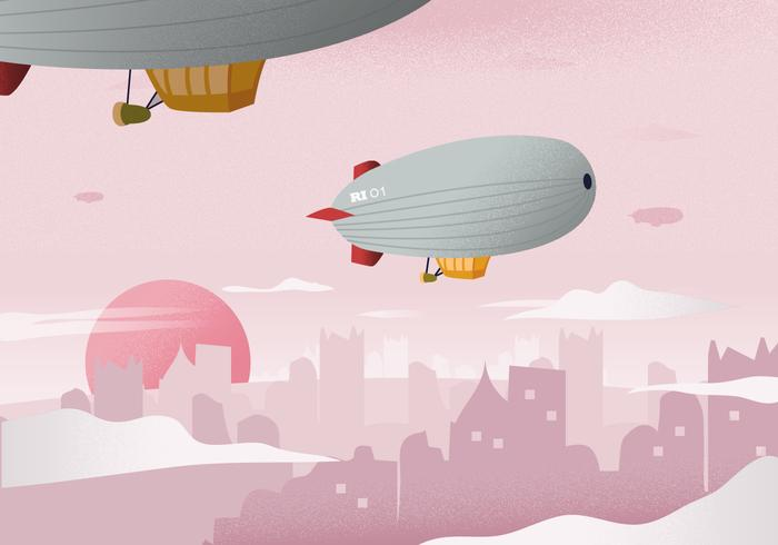 Dirigible In The City Landscape Background Vector Illustration