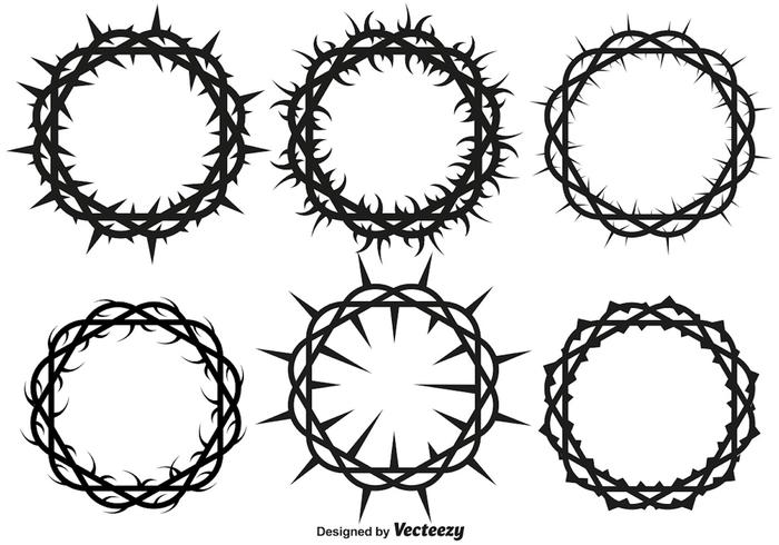 Vector Crown Of Thorns Set For Lent And Easter