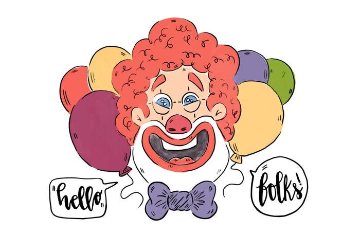 Funny Smiling Clown With Red Afro And Balloons