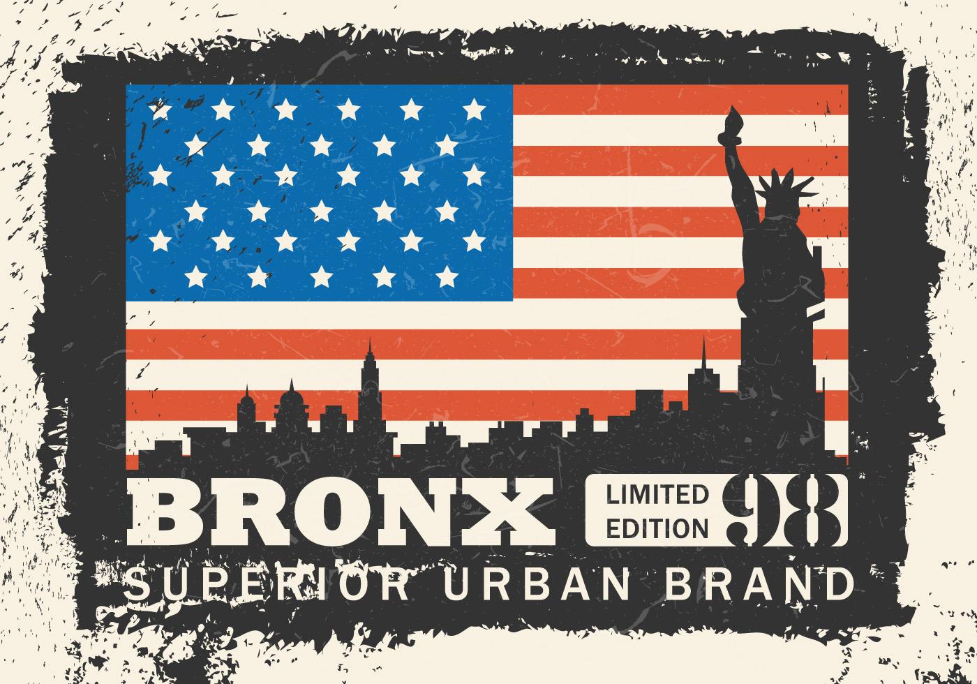 vintage grunge bronx nyc illustration download free