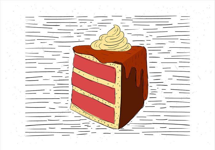 Free Hand Gezeichnet Vektor Kuchen Illustration Kostenlose Vektor