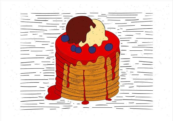 Free Hand Drawn Vector Pancake Illustration