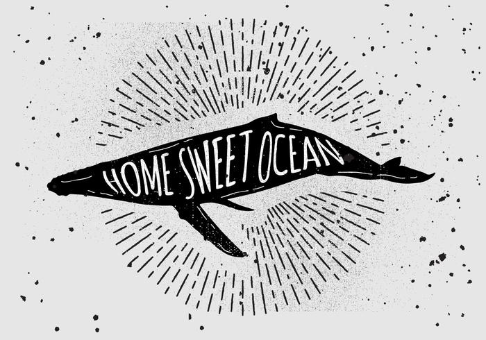 Free Vintage Hand Drawn Whale Silhouette
