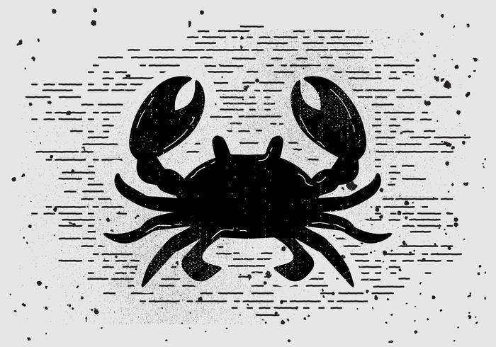 Libre Vintage Mano Dibujó Cangrejo Silueta