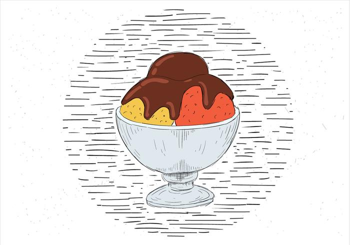 Free Hand Drawn Vector Cup of Ice Cream Illustration
