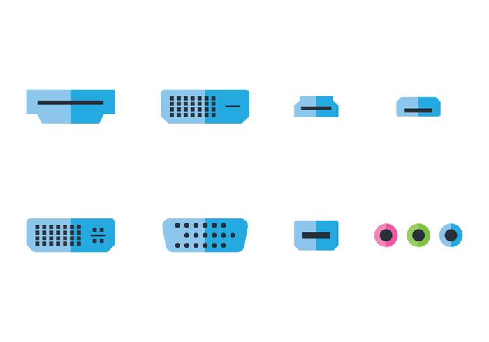 USB Flat Icon Set