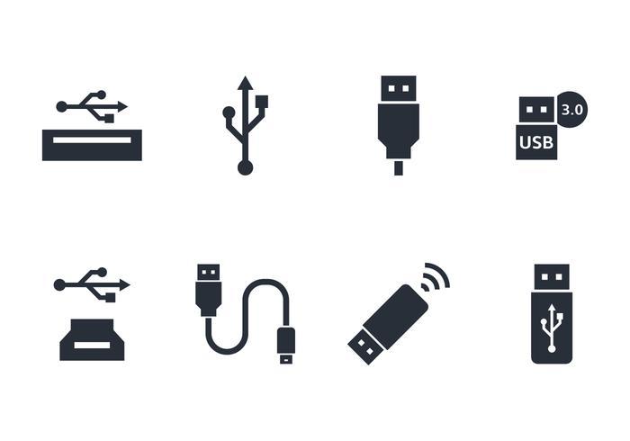 conjunto de iconos usb