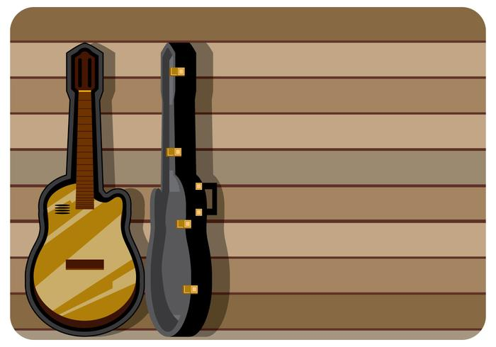 Classic Guitar Case with Wooden Background Vector