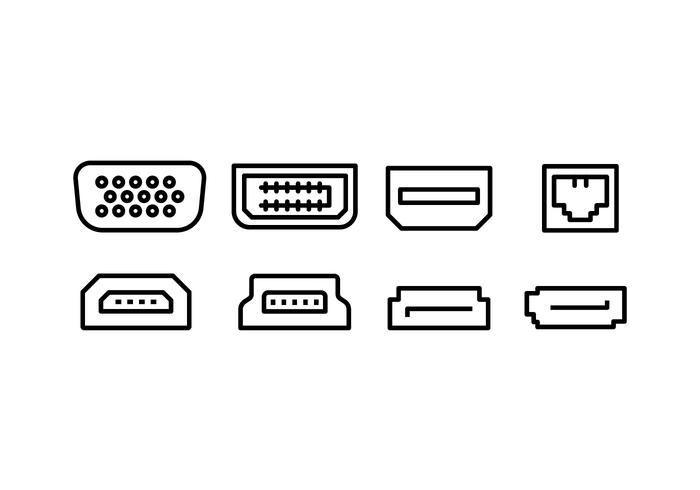 computer interface port icon set
