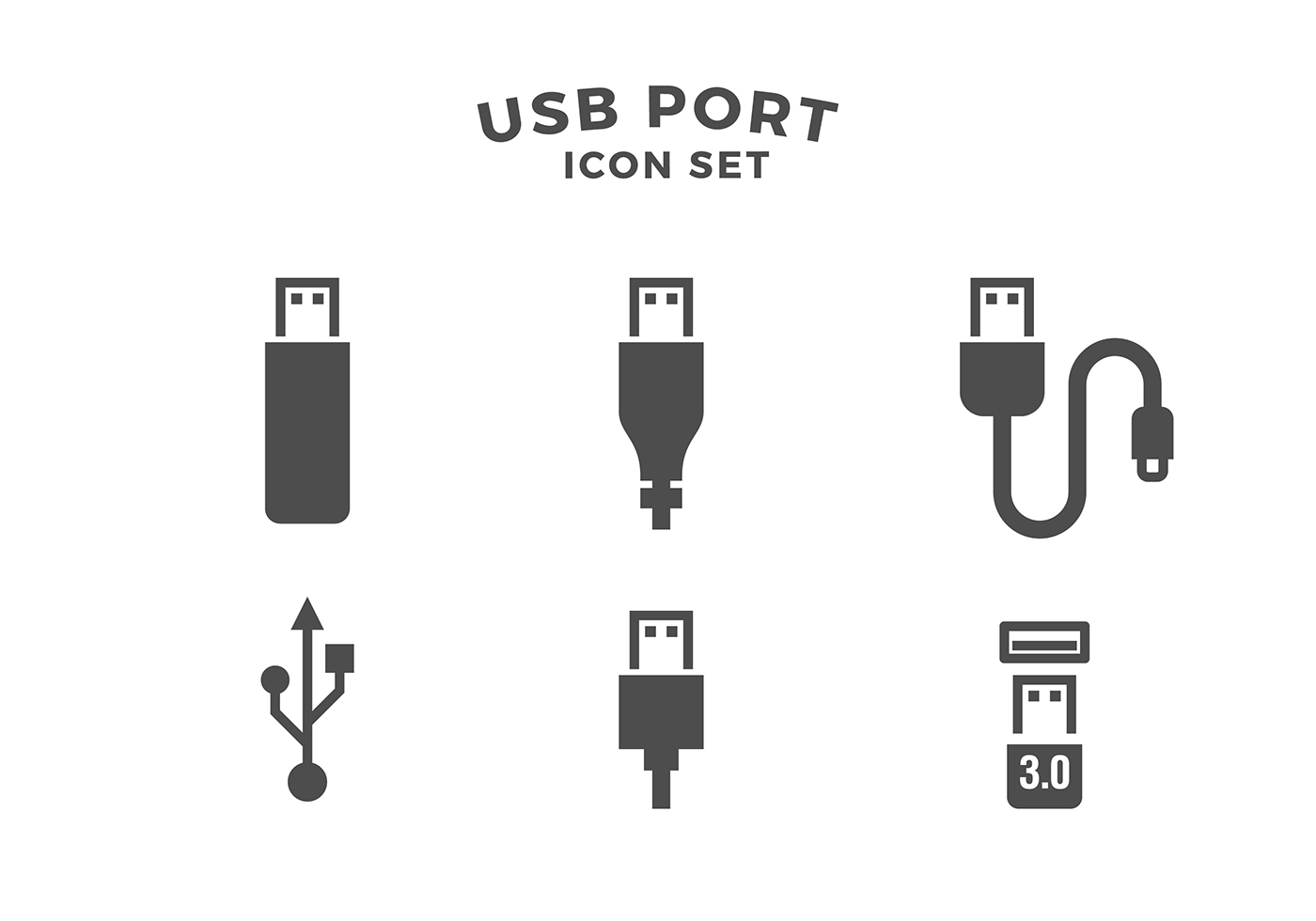 Usb Port Icon Set Free Vector Download Free Vector Art