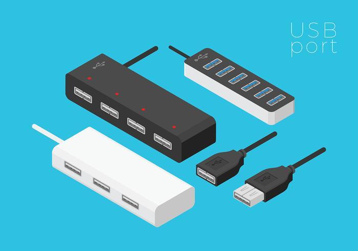 Ports USB vecteur isométrique gratuit