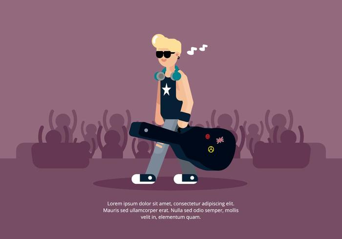 Musician with Guitar Case Illustration