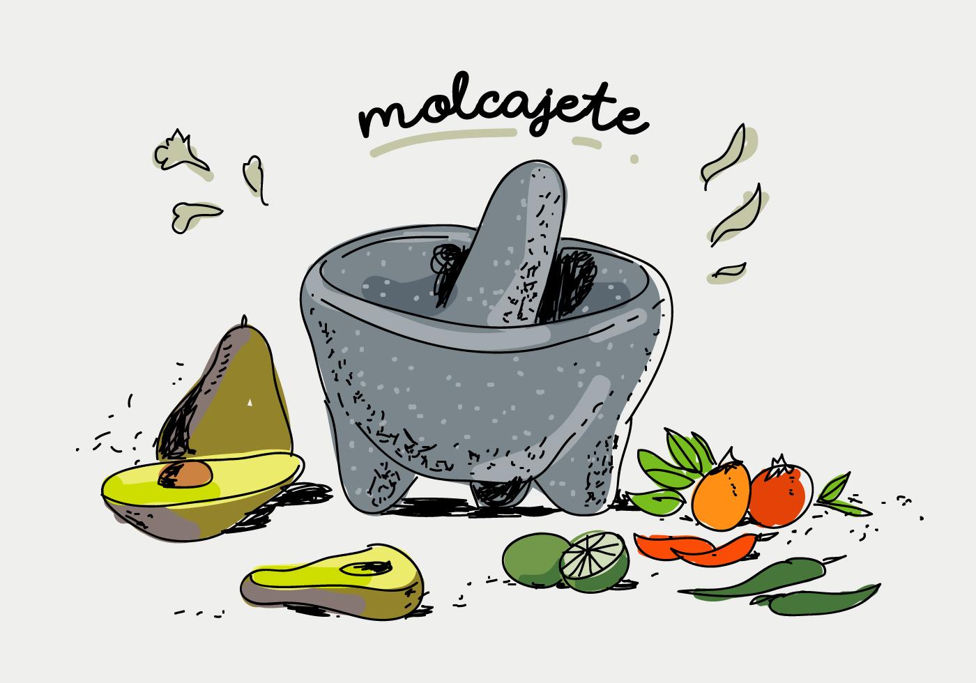 Molcajete Condimento Mexicano Dibujado A Mano Ilustración