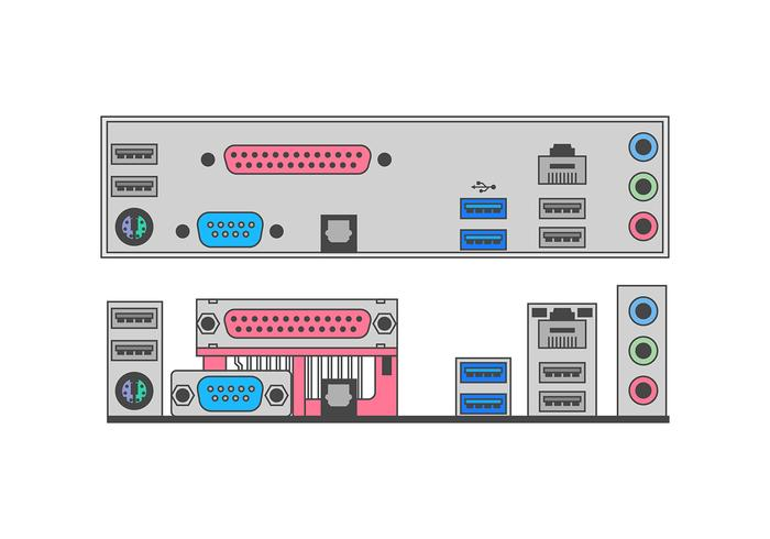 USB Port Mother Board Free Vector