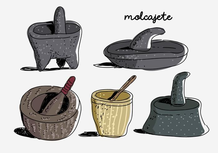 Molcajete Colection Hand Drawn Vector Illustration