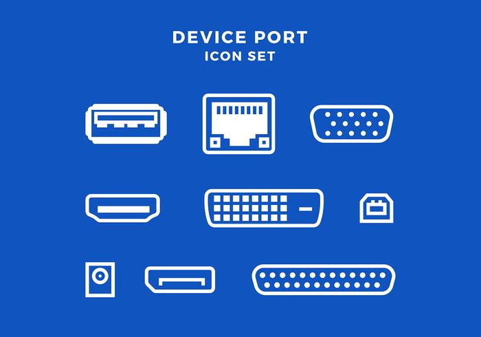 Device Port Icon Set Free Vector