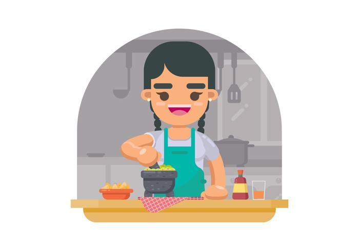 Ilustração de preparação de alimentos