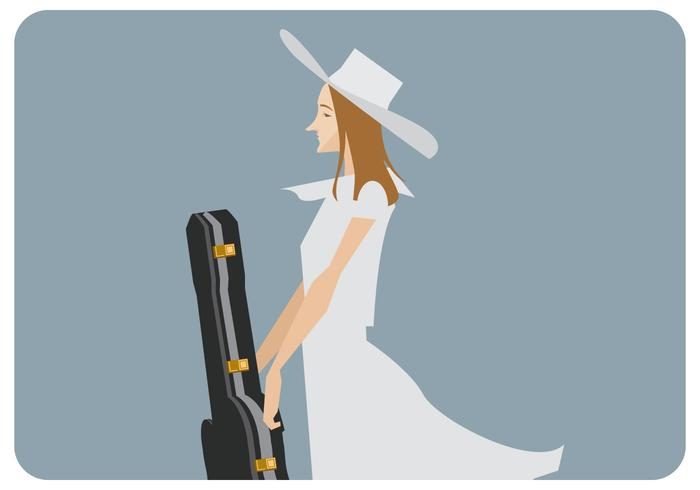 Cute Girl With Guitar Vector