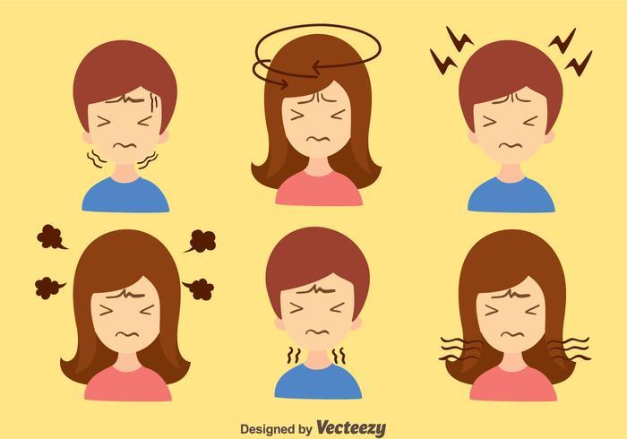 Vetor de dor de cabeça para menino e garota
