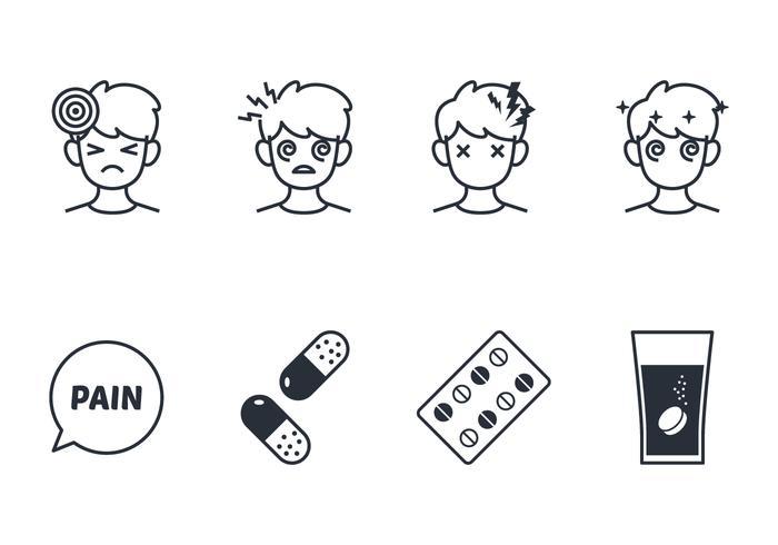 Headache line icon set vector