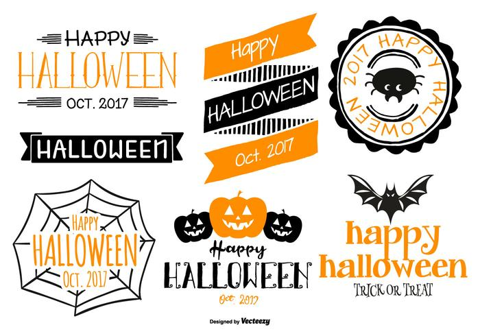 typographic halloween labels vector collection download free