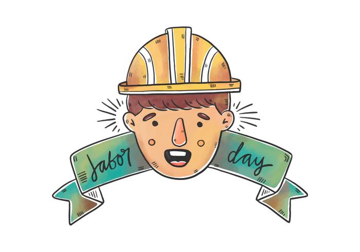 Watercolor Worker Man With Hard Hat And Ribbon for Labor Day Vector