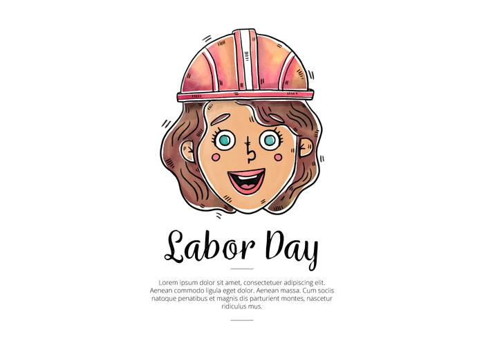 Watercolor Woman Worker for Labor Day Vector