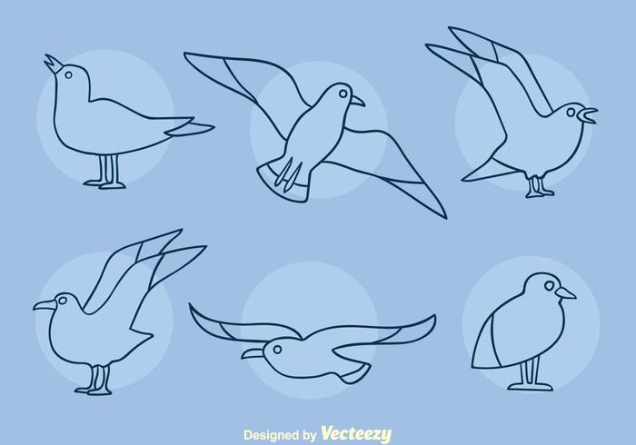 Albatross Line Icons Vector