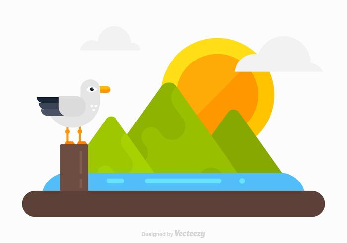Flat Vector Nature Landscape With Albatros Standing On Pier