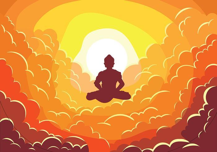Buddah en las nubes ilustración vectorial