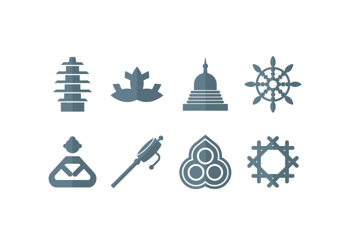 Meditation, yoga, zen, buddha set icons vector