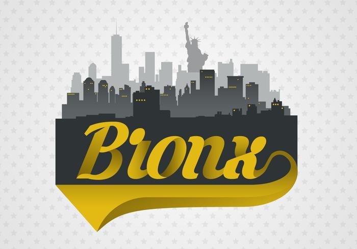 Bronx City Skyline With Typography Vector Illustration