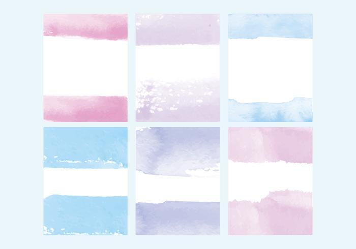 Conjunto de cartões de aquarela de vetores