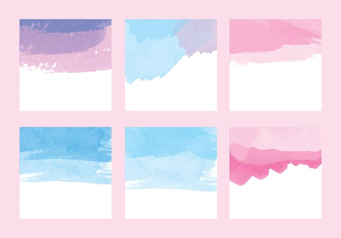Vector Watercolor Card Set