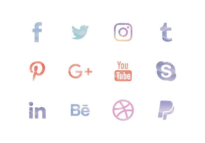 Ícones de mídia social de aquarela de vetores configurados