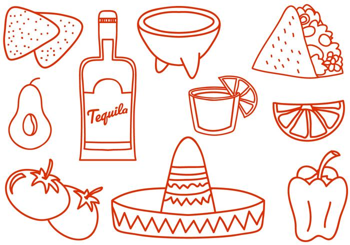 Free Doodle Mexiko Vektoren