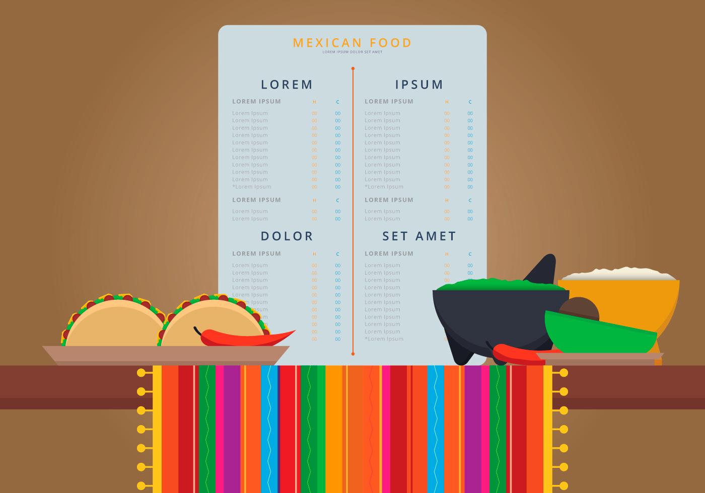vecteur de menu alimentaire mexicain traditionnel. Black Bedroom Furniture Sets. Home Design Ideas