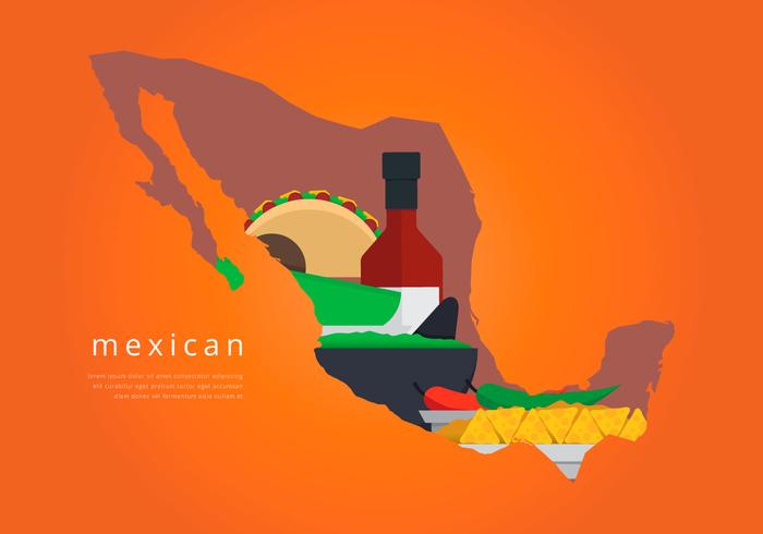 Mexico Map with Traditional Food Vector