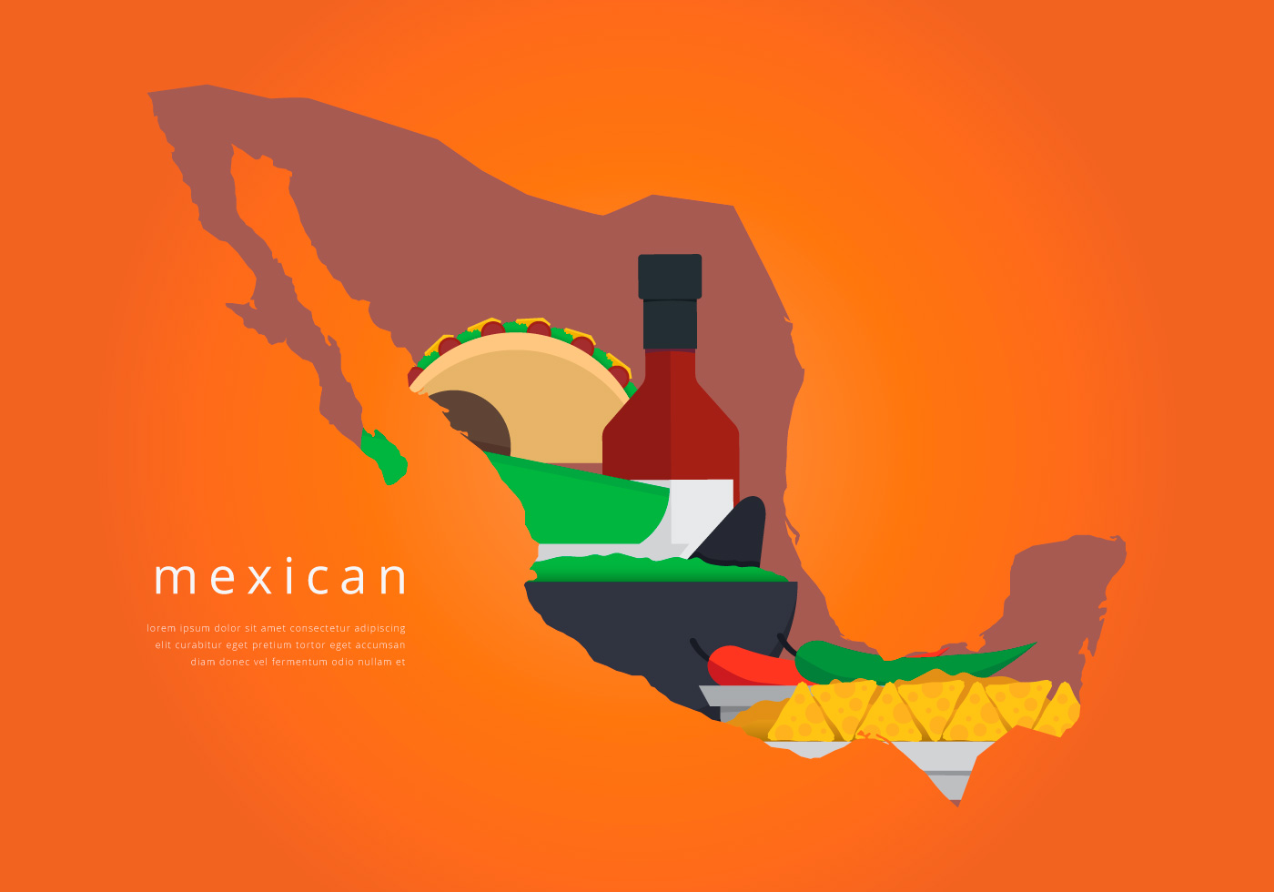 Icono Mapa Mexico Png: Mexico Map With Traditional Food Vector
