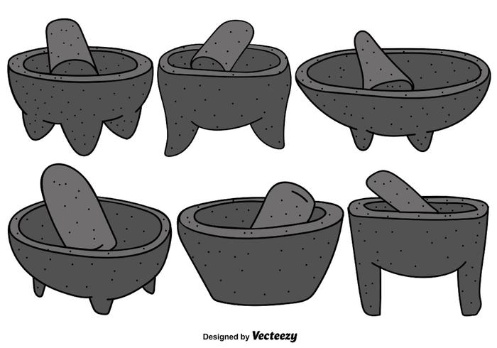 Vector Set Of Mexican Molcajete With Pestle