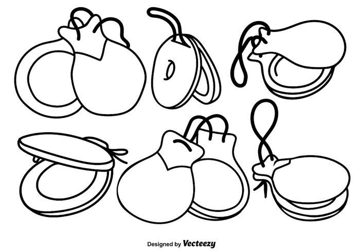 Vector Castanets Set Icônes dessinées à la main