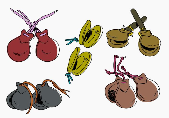Castanets Color Hand Drawn Vector Illutration