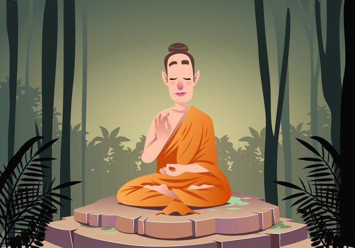 Buddha Praying Vector Scene