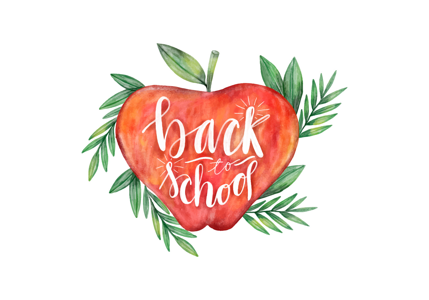Apple back to school. Watercolor with leaves vector