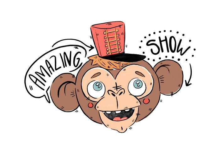 Cute Circus Monkey With Red Hat Vector