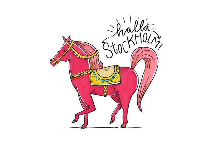 Cute Stockholm Folklore Character Horse  vector